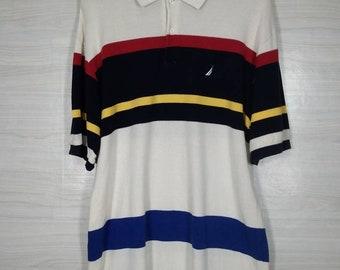 c60ec454197 Nautica Polo Shirt Multicolor Colorblock Top Tee Vintage 90s Nautica Small  Logo Embroidery Size XXL