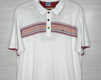 8f8169dd Hang Ten Polo Shirt Vintage 90s Hang Ten California Original Brand White Shirt  Hang Ten Multicolor Size LL