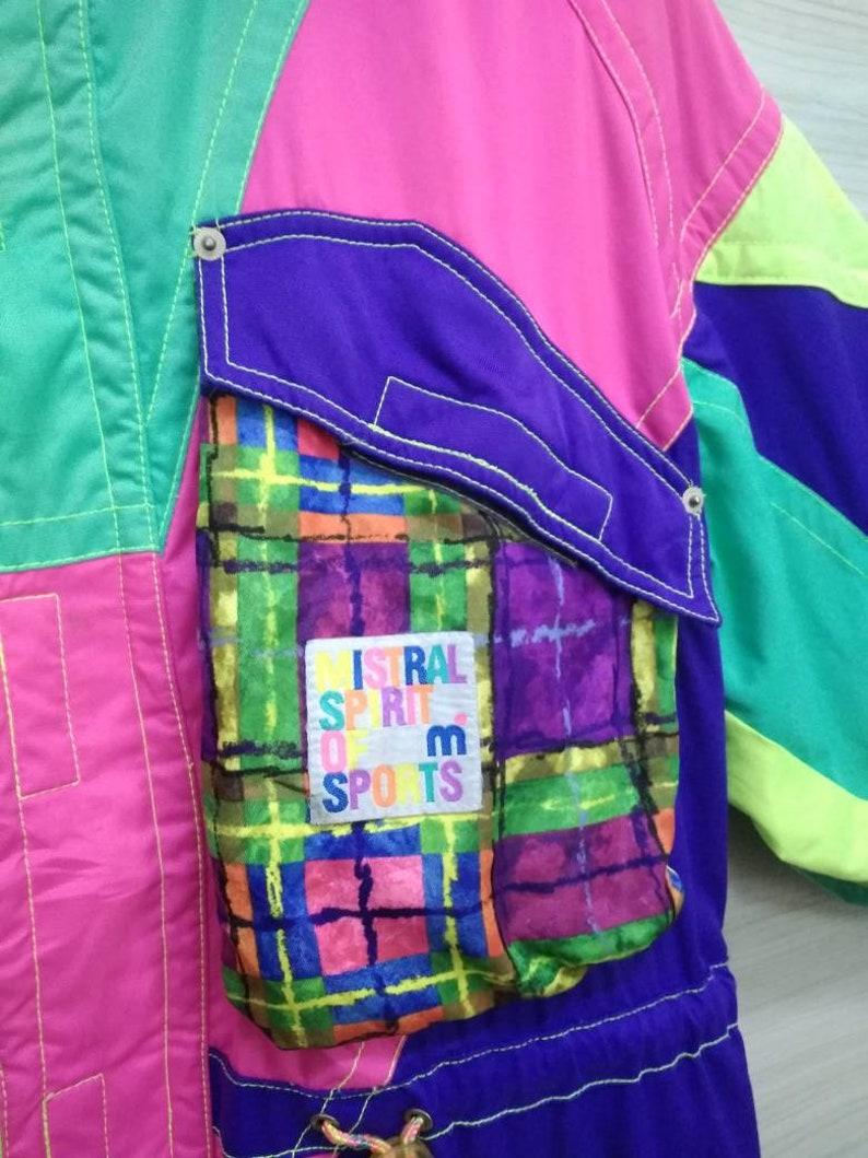 MISTRAL SPRIT Ski Jacket Vintage 90s Mistral Colorblock Jacket Skiwear Salomon Hoodie Winter Jacket Snow Jacket Unisex Size M Medium