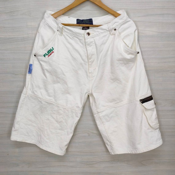 Vintage FUBU Pants Shorts White Color Small Logo 9