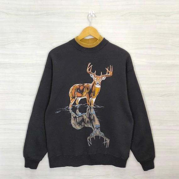 90s Deer Big Buck Sweater Vintage Animal Print Jum