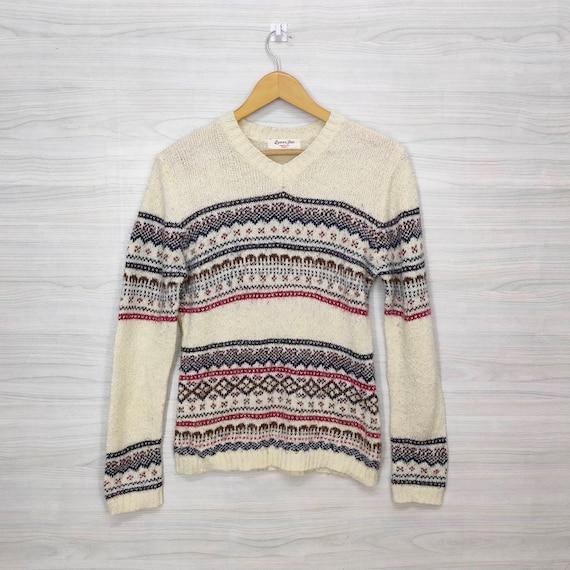 Men/'s Iceland Wool Pullover Vintage 80s Sweater V-neck Cream Nordic Ski Sweater