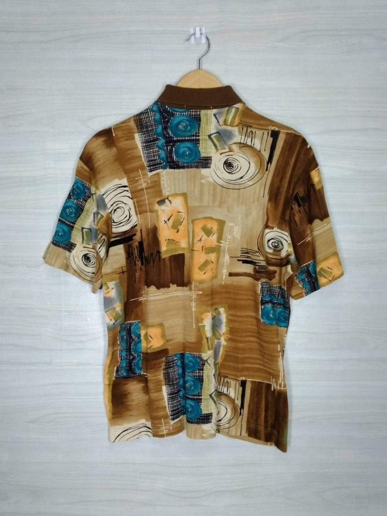 MUGGER Polo Shirt Pop Art Abstract Classic Vintage 90s Mugger All Over Print Patterned Top Tee Multicolor Size M