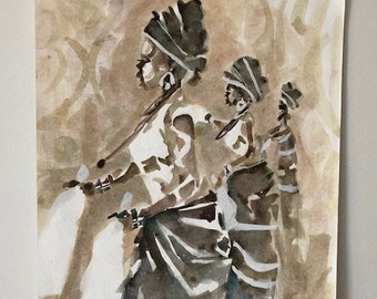 Beautiful Dancing African Women Painting on Paper
