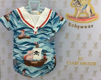 0-3m Baby boys sailor suit, handmade, pirate, romper