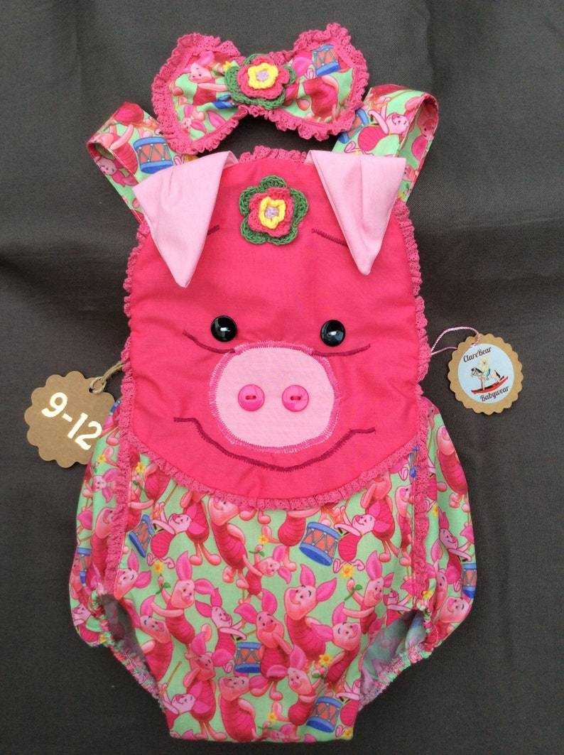 5e6d2c8c730a 9-12 Piglet Winnie the Pooh girls new handmade romper and bow