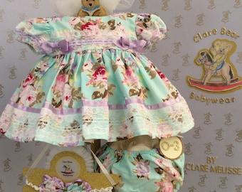 0-3m Baby girls dress handmade Spanish style