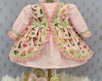 9-12m Baby girls handmade kitten dress & headband