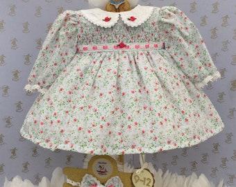 9-12m Baby girls smocked ditsy print handmade dress & headband
