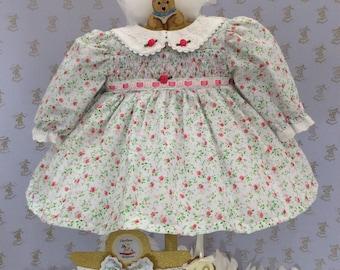 6-9m Baby girl, smocked, ditsy print handmade dress & headband