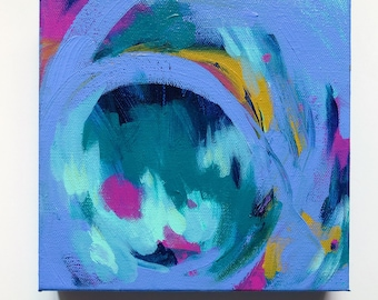 """8"""" x 8"""" Abstract Acrylic Painting - Modern Wall Art - 8"""" x 8"""" canvas - Title: Round and Round"""
