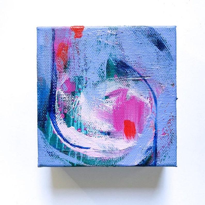 4 x 4 A stract Acrylic Painting  Modern Wall Art image 0