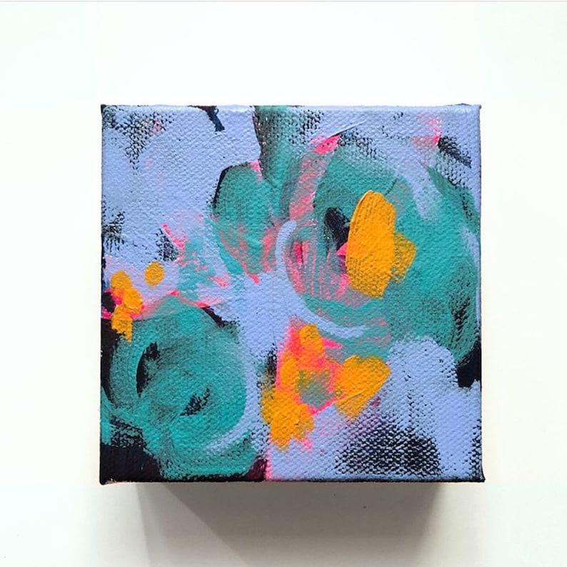 4 x 4 Abstract Acrylic Painting  Modern Wall Art image 0