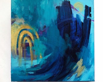 """8"""" x 8"""" Abstract Acrylic Painting - Modern Wall Art - 8"""" x 8"""" canvas - Title:Forward"""