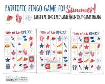4th of july patriotic summer bingo game