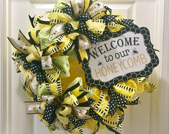 Bumble Bee Door Wreath, Welcome to our Honeycomb