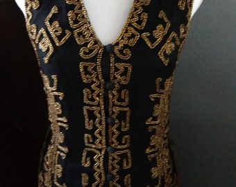 Vintage Gypsy Boho Hippie girl gold beaded black vest with tie in the back size small button-down front