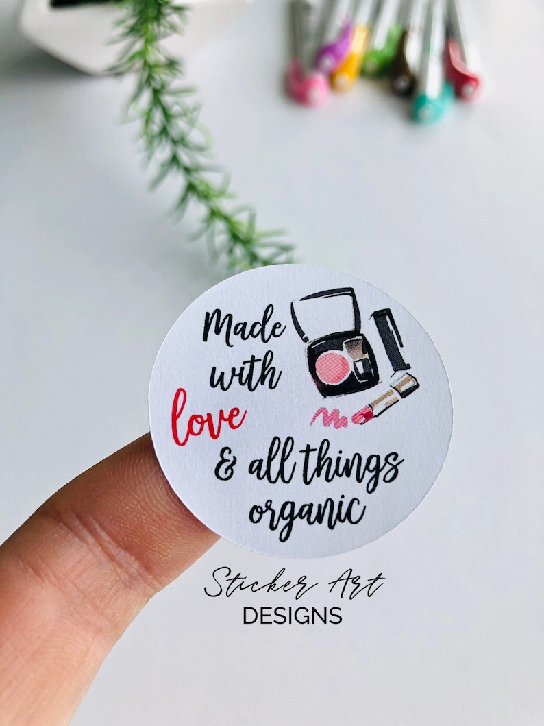 Make Up Stickers Organic Products Stickers Made with Love Stickers Sticker Art Designs Handcrafted Make Up Organic Make Up Stickers