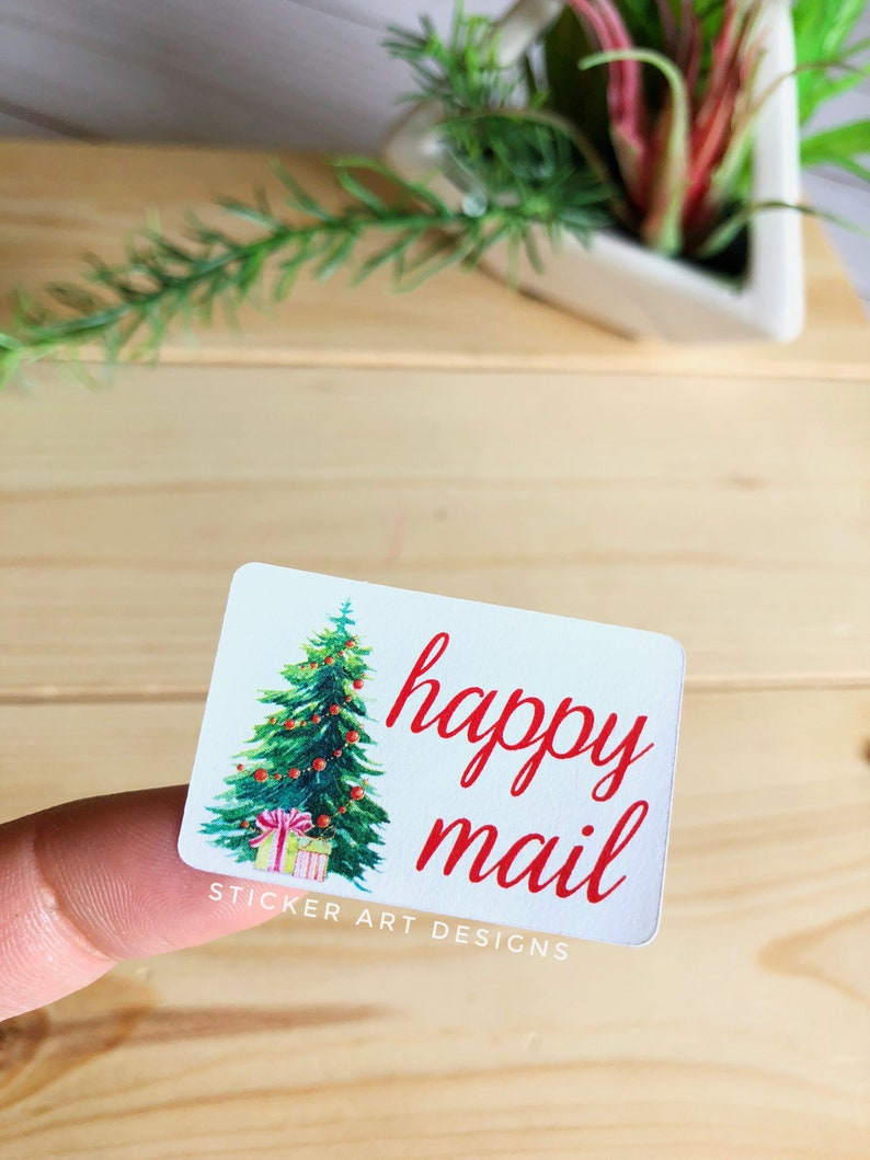 Small Business Stickers Holiday Season Stickers Happy Post Stickers Christmas Packaging Stickers Shipping Labels 45 Happy Mail Stickers