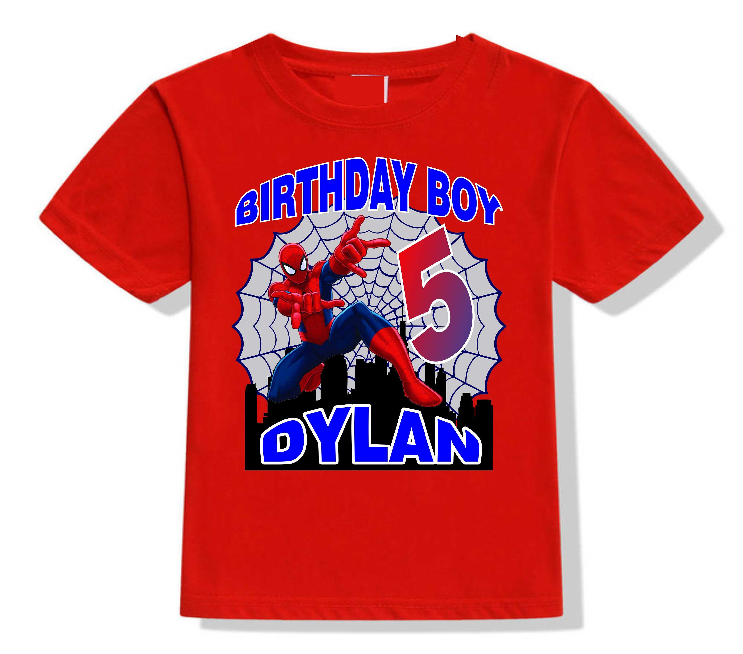 Spiderman Birthday T Shirt Personalized Shirts