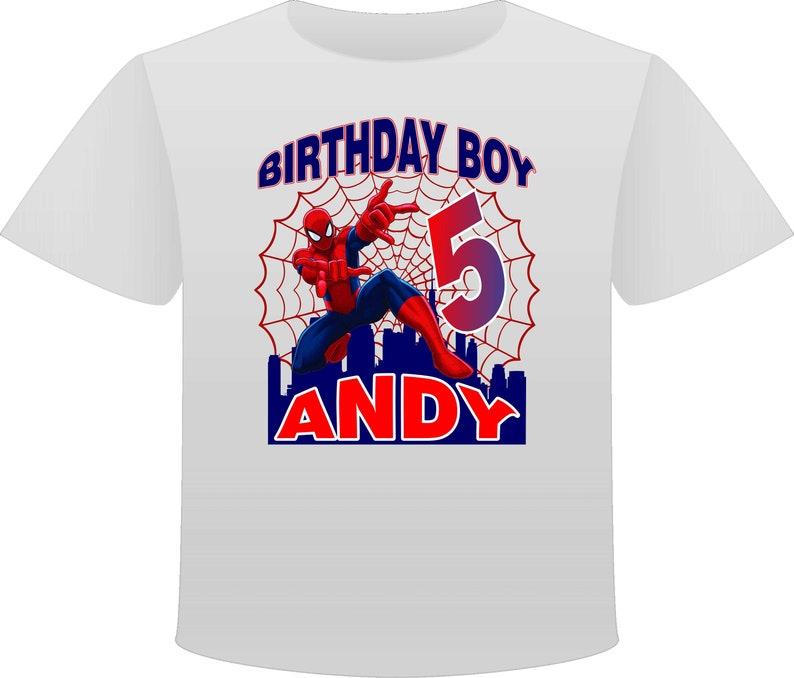 4da343e9e Spiderman Birthday T-shirt personalized birthday shirts | Etsy