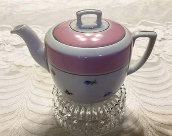 Pink and White Floral Fine China Teapot
