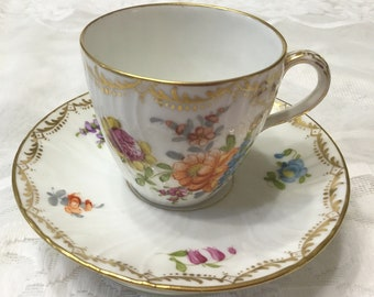 Beautiful Dresden Style Demitasse Cup and Saucer