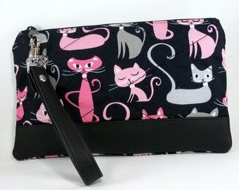 Cat Bag, Diva Cats, Black Wristlet