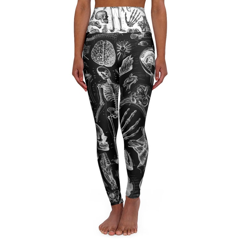 White High Waisted Gothic Fashion Yoga Leggings Human Anatomy Black Leg