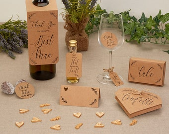 Hearts & Krafts Collection - Tissue Confetti, Wedding Invitations, Save The Date Cards, Bridesmaid Cards, Place Cards, Table Confetti