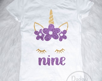 Unicorn 9th Birthday Shirt Outfit Nine Girls
