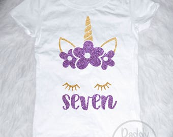 Unicorn 7th Birthday Shirt Outfit Seven Girls