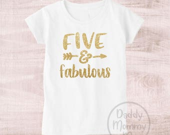 Five And Fabulous Shirt 5th Birthday 5 Outfit Year Old Girl