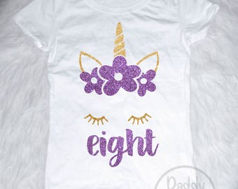 Unicorn 8th Birthday Shirt Outfit Eight Girls