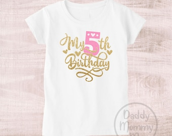My 5th Birthday Shirt 5 Five Outfit Year Old Girl Fabulous Shirts