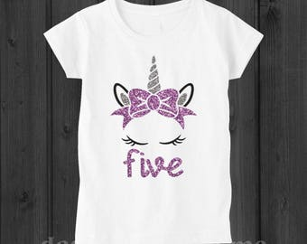 Unicorn Birthday Shirt Five 5 Year Old Outfit 5th Shirts Girl