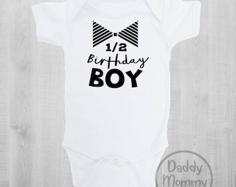 Half Birthday Boy Bodysuit Shirt Baby Clothes 6 Months Old Six