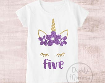 Unicorn 5th Birthday Shirt Five Year Old 5 Outfit