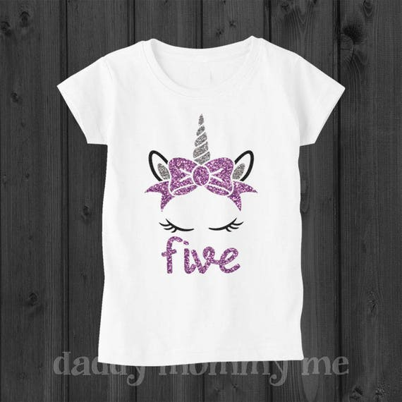 Unicorn Birthday Shirt Five 5 Year Old