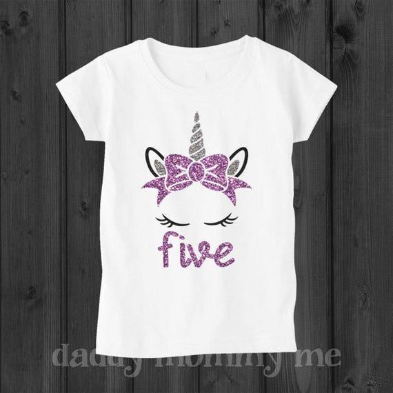 Unicorn Birthday Shirt Five 5 Year Old