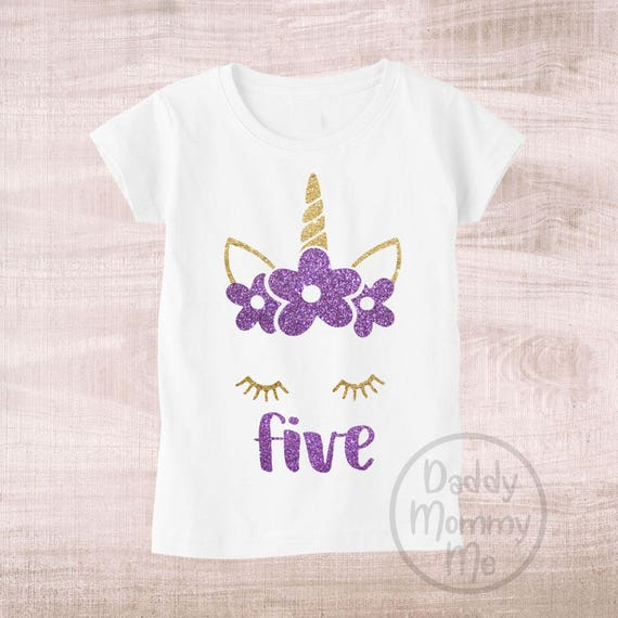 Unicorn 5th Birthday Shirt Five