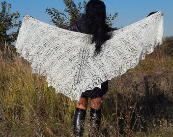 White knitted shawl, Knitted shawl mohair, knitted accessory, Wedding shawl, knit shawl, knit scarf, Knitted wool Shawl Wrap, evening wraps