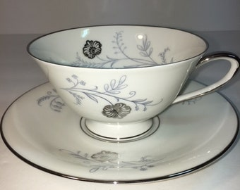 Bavaria Tirschenreuth Germany Footed Cup and Saucer-Enchanting Pattern-Perfect Condition