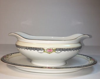 Vintage Noritake Gravy Boat With Attached Underplate Pattern Deerlodge