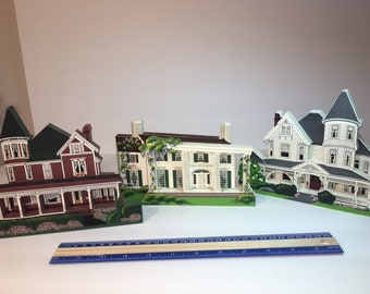 Vintage Shelia's Victorian Homes-Set of Three-Signed and Numbered-Colleectible