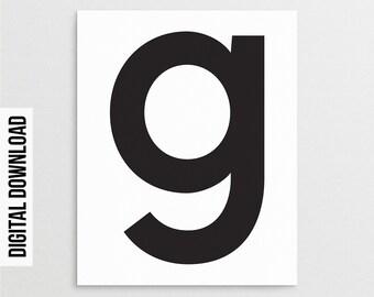 Letter G Poster Etsy
