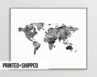 World Map Poster, Watercolour World Map, World Map Print, Black And White  World Map, Scandinavian Print, Map Poster, World Map, Nordic Print