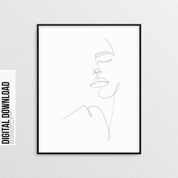 Dessin De Ligne Femme Simple Mode Art Corps De La Femme Noir Et Blanc Impression Nue Affiche Féminine Single Line Art Femme Art Art Minimal