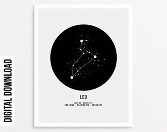 Astrologie Scandinave affiche du zodiaque lion   etsy