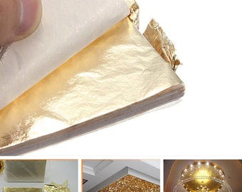 dbebc8c0d 100pcs/lot Gold Leaf Decor Golden Copper Foil Cover Leaves Sheets Gilding  DIY Art craft paper Material Accessories 14x14cm Slime Making